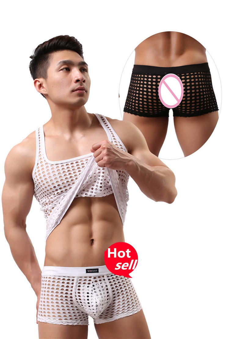 Men s Underwear Foreign Trade Home Furnishing Leisure Sexy Fish Nets Mesh Hollow Boxer Shorts WXPJ