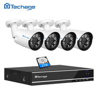 Techage 4MP 4CH Security AHD DVR Kit CCTV System 4MP 2560 1440 Waterproof Outdoor IR Night