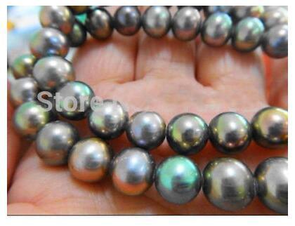 9-10 мм природный tahitian павлин зеленый жемчужное ожерелье 18''