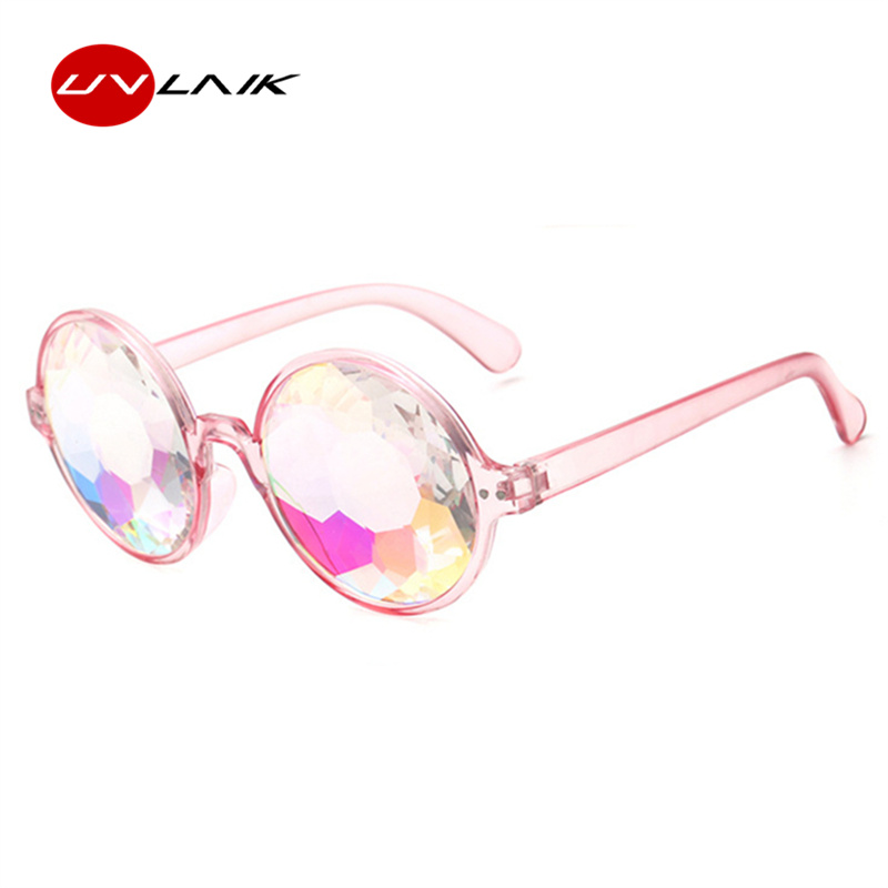 d4f444bede UVLAIK Round Kaleidoscope Glasses Women rave festival Sunglasses Men  Holographic Glasses Colorful Celebrity Party Eyewear-in Sunglasses from  Apparel ...
