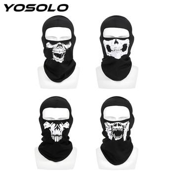 YOSOLO Halloween Ghost Skull Unisex Breathable Full Face Mask Winter Ski Mask Balaclava Neck Warm Motorcycle Bike Windproof Mask