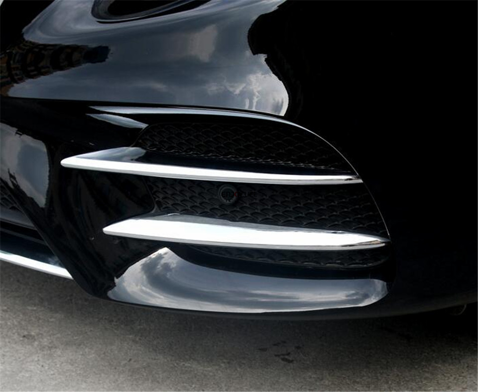 Prix pour 4 pcs ABS Avant De la Voiture Brouillard Lumière Couvercle De La Lampe Garniture Bande Autocollant Pour Mercedes Benz GLC X253 2015 2016 2017 Sport