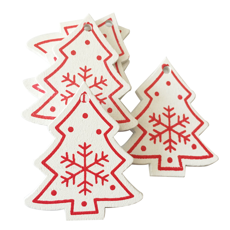 New Year 2020 Christmas Snowflake Wooden Pendant Xmas Tree Decorations for Home Wood Hanging Crafts Navidad 2019 Noel Natal Deco 27
