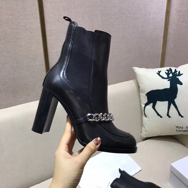 2017 New Autumn Winter Shoes Woman Leather Ankle Boots High Square Heels Chelsea Boots Designer Woman Chian Boots Woman Shoes enmayla autumn winter chelsea ankle boots for women faux suede square toe high heels shoes woman chunky heels boots khaki black