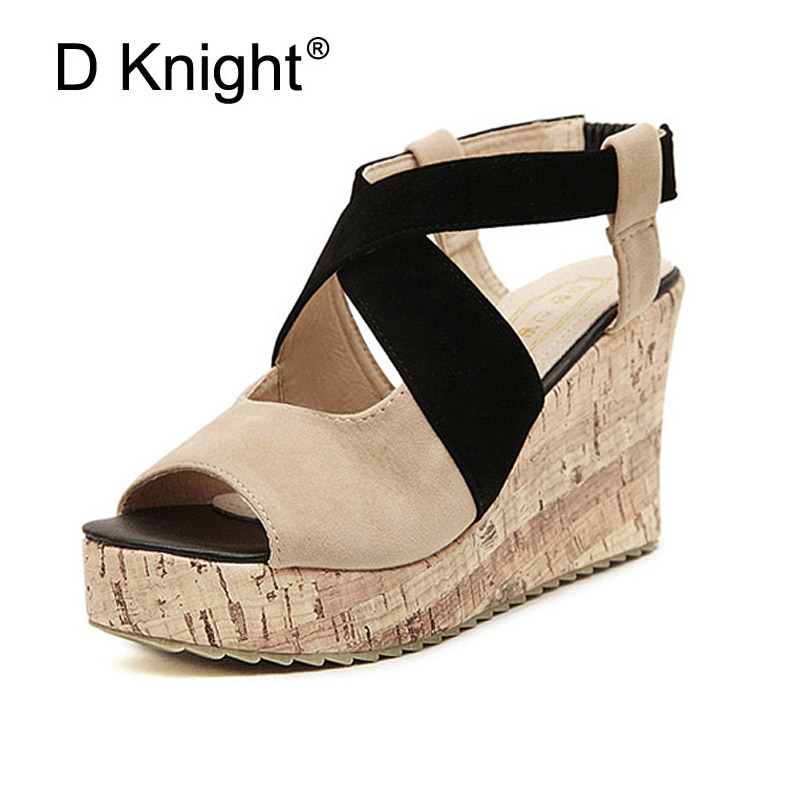 5295b4103a New Fashion Women Color Block Cross Strap Platform Wedge Sandals Big Size  34-43 Open Toe High Heels Gladiator Sandals For Women