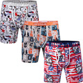 3PCS/Pack JINSHI Men's Boxer Shorts Bamboo Fiber Mens Underwear Boxers Trunks Sexy Print Stretch U Convex Man Underpants Shorts