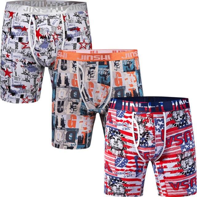 3PCS/Pack JINSHI Men's Boxer Shorts Bamboo Fiber Mens Underwear Boxers Trunks Sexy Print Stretch U Convex Man Underpants Shorts