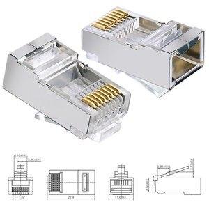 Image 5 - Cat6 RJ45 Connector 8P8C Modulaire Netwerk Ethernet Kabel Hoofd Plug 20 Pcs 50 Stuks 100 Stuks Metalen Afgeschermde Rj 45 kat 6 Crimp Connector