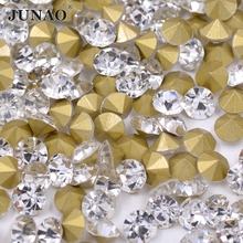 SS39 8mm Clear Crystals Rhinestones Applique Pointback Glass Strass Chaton Round Nail Crystal Stones For Wedding Dress Crafts(China)