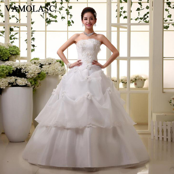 VAMOLASC Pleat Strapless Ball Gown Lace Appliques Wedding Dresses Off The Shoulder Flowers Backless Bridal Gowns