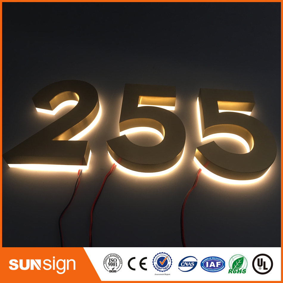 Factory Outlet Outdoor backlit stainless steel LED 3D letter signage company logo