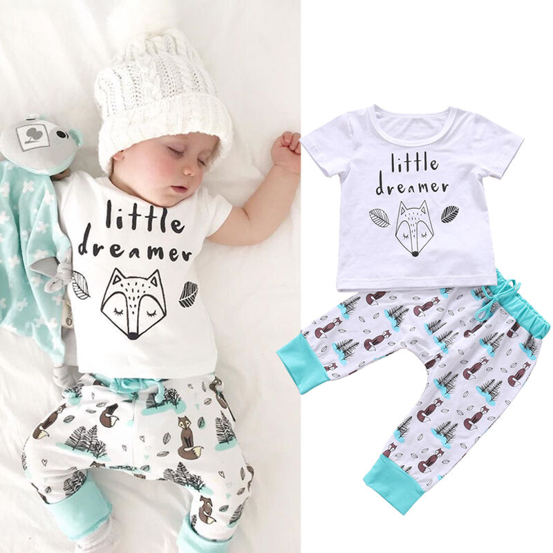 CANIS Brand Newborn Baby Girl Boy Clothes Letter Animal Printed Short Sleeve T-shirt Tops+Tree Printed Pants Outfits Set