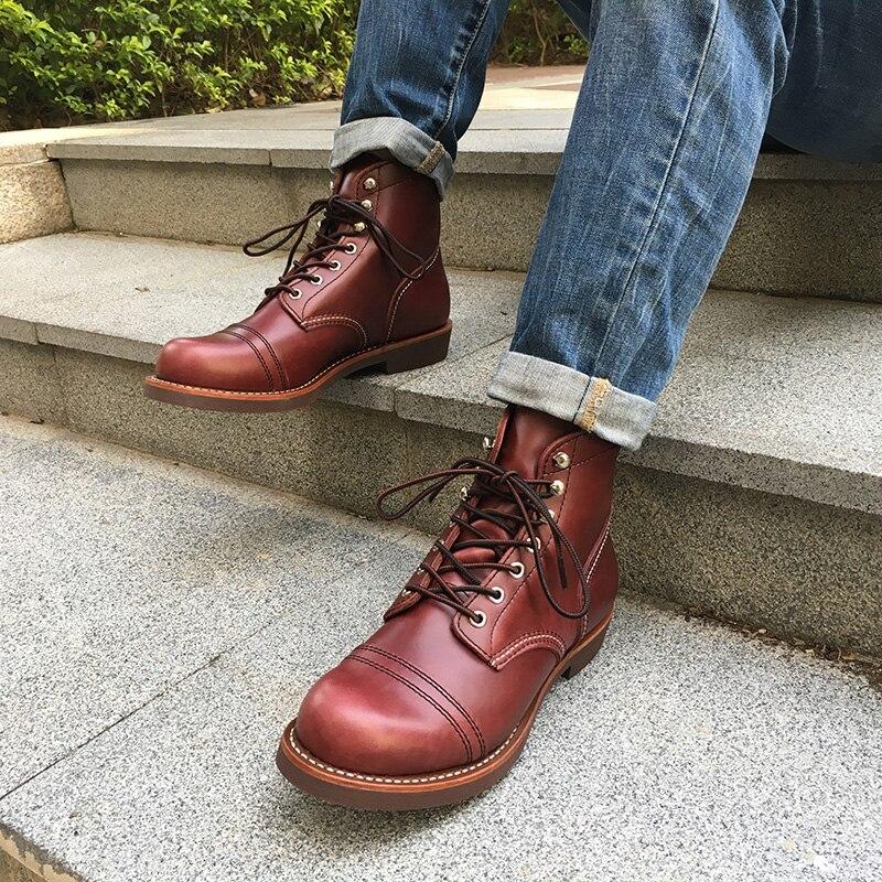 Inverno Boots Outono Genuíno Britânico Tinto Marrom Couro Designer Dos Superior vermelho Sapatos Novos De Qualidade Homens Ankle Motocicleta Vinho Luxo Botas Casual OdwqR7dZF
