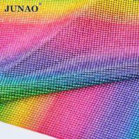 JUNAO 24 40cm Self Adhesive Glass Rhinestones Mesh Trim Crystal Beaded Applique Glue On Strass Crystals