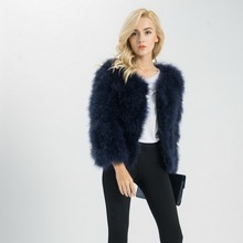 S1002 Women 2016 Real Fur Coat  Genuine Ostrich Feather Fur Winter Jacket Retail / Wholesale Top Quality