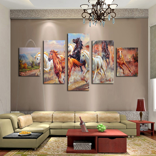 Unframed 5 Panels Canvas Print Painting Modern Running Horse Wall Art For Decor Home
