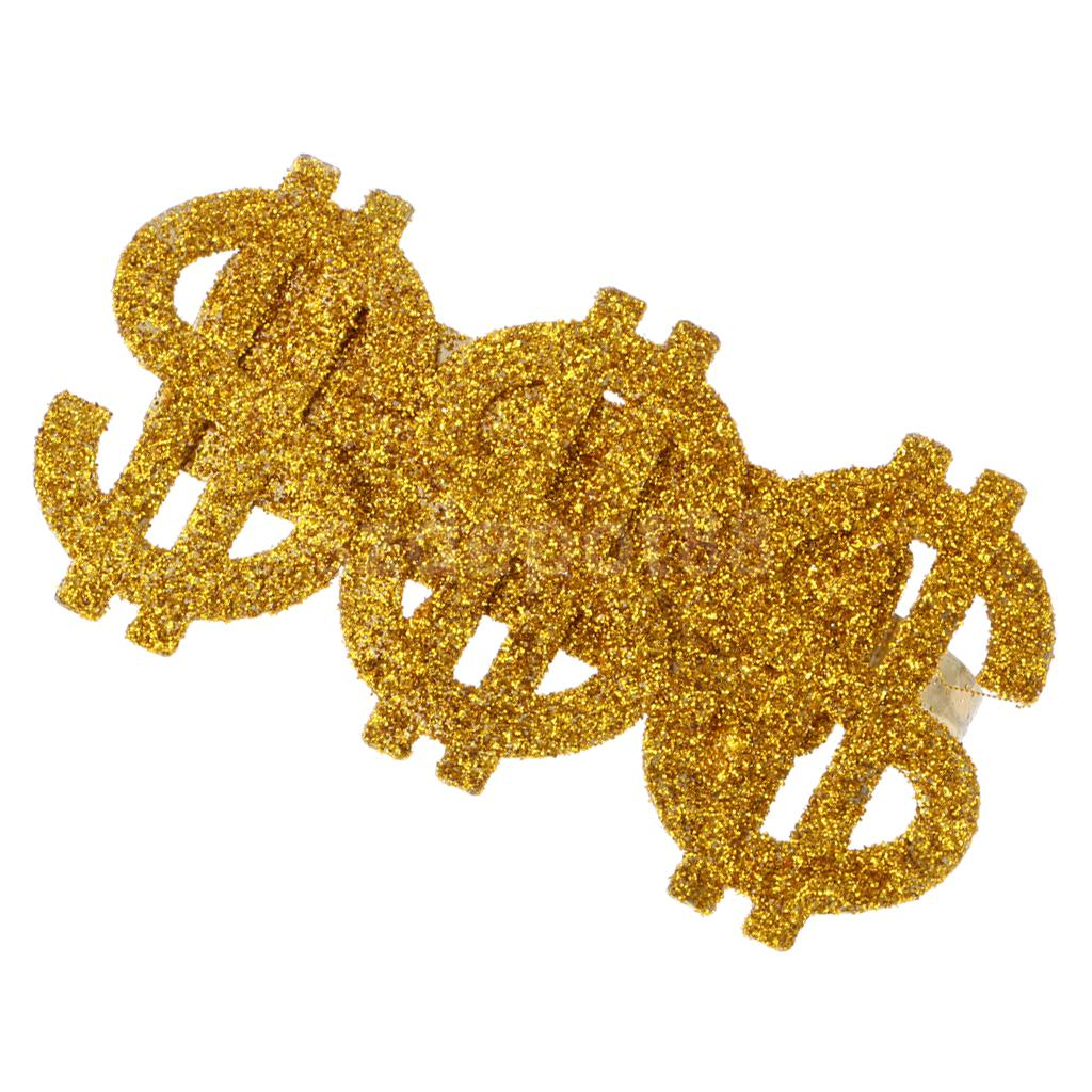 Glitter Gold 3 US Dollar Signs Ring 80s Rapper Big Daddy Costume Fancy Dress