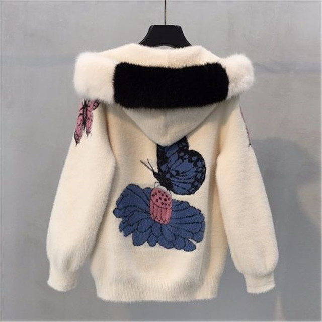 2019 Female mink fur jacket autumn and winter women's coat loose embroidered thick velvet hooded sweater women's cardigan