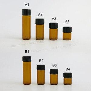 Image 2 - 100X1ml 2ml 3ml 5ml Mini di Vetro Ambrato Bottiglia di Olio Essenziale di Orifizio Riduttore Small cap marrone Fiale di Vetro con il foro di inserimento