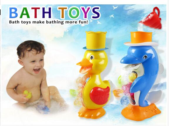 Brinquedos de banho pato / golfinho banho do bebê jogar torneiras sustentada chuveiro Spray Spray de água brinquedos do banho do bebê