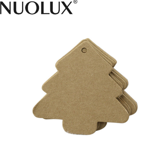 100pcs christmas tree shape label kraft paper vintage hang blank name card tag price tags wedding - Blank Christmas Tree