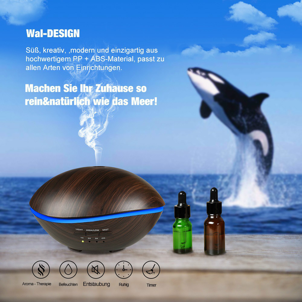 500ML Wood Grain Essential Oil Diffuser Ultrasonic Aromatherapy Air Humidifier Mist Maker with 7Color Night for Home Office