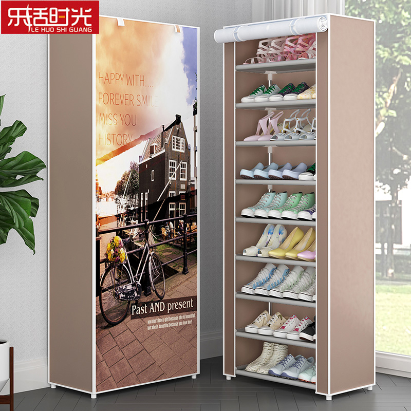 Simple 10 Tier 9 Grids Shoe Rack Dust proof Oxford Cloth Shoes Ark Easily Assembled Storage