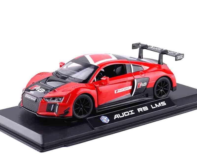 Children Kids Kinsmart for Audi R8 Model Car 1:24 Diecast Metal Alloy Cars Toy Pull Back Gift
