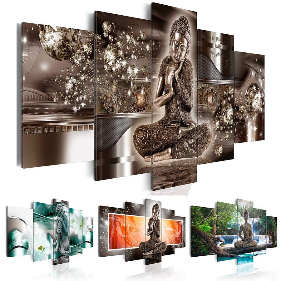 HD Hot Sell Fashion Wall Art Canvas Painting 5 Pieces Diamond Buddha Zen Meditation Landscape Waterfall Modern Home Decoration