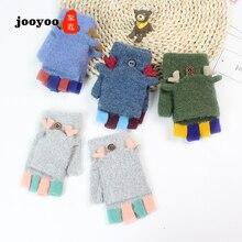 Детские перчатки Зимние перчатки на половину пальца с откидной манжетой имитация кашемира перчатки без пальцев жаккардовые рога шерстяные перчатки