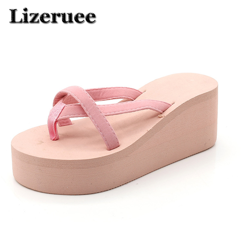 Lizeruee 2017 New High Heels Beach Slippers Summer Style Wedge Platform Sandals for Women Huarache Flip Flops Woman Shoes HS103 black red green pink summer sheepskin woman platform flip flops slippers thick high heels beach sandals for women open toe shoes