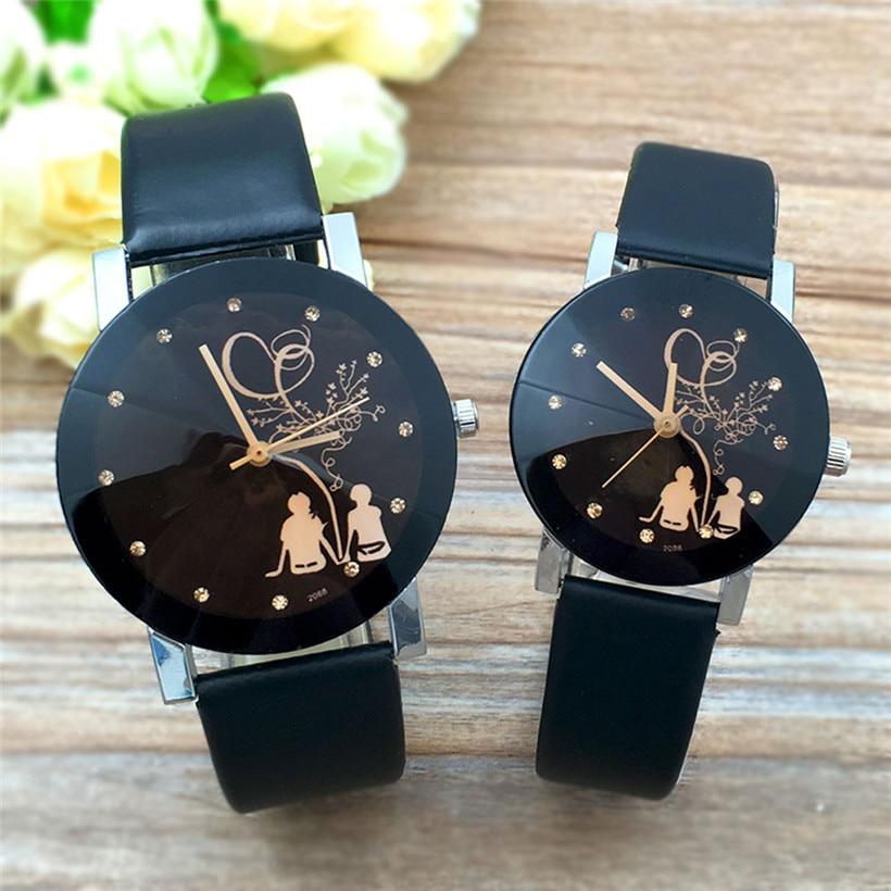 Student Couple Stylish Spire Glass Belt Quartz Watch Women Men Girl Boy Heart Flower Vintage Happy Valentine's Day Gift Clock glass girl