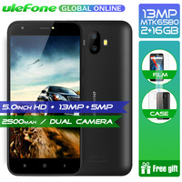 Original Ulefone S7 Pro 2GB RAM 16GB ROM 3G WCDMA MTK6580 Quad Core 5.0 HD 13MP Dual Rear Cam GPS Android 7.0 Mobile Phone