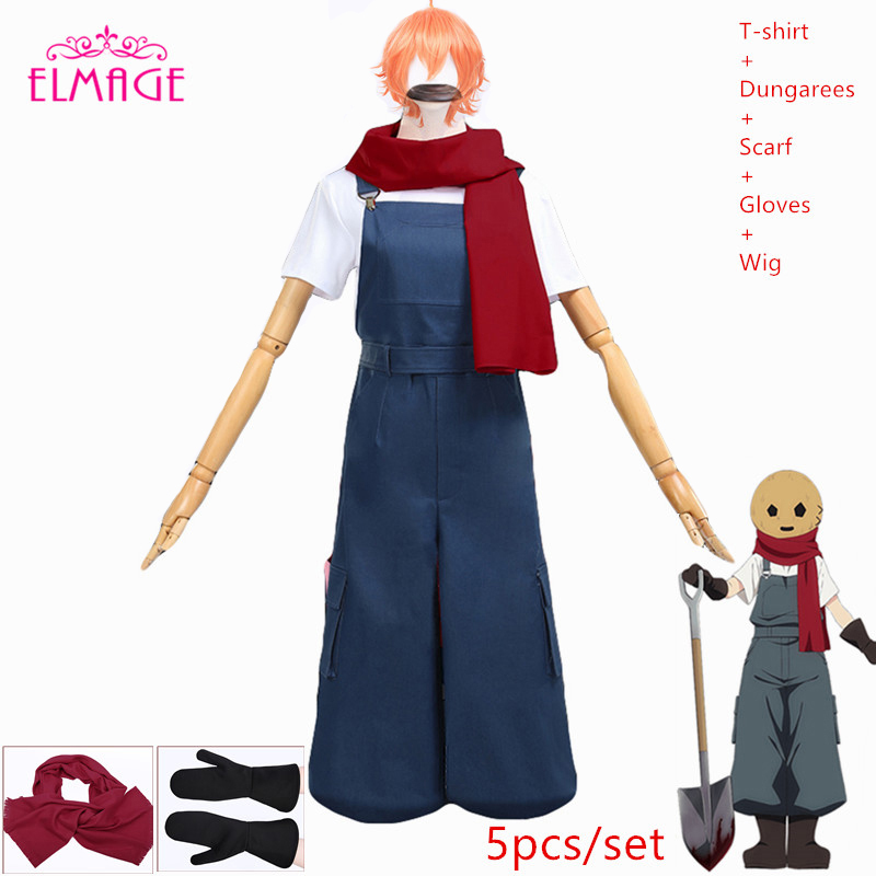 Angels of Death Rachel Gardner Eddie cosplay Costumes Rachel Gardner Daily full T-shirt+dungarees scarf+gloves Japanese kimono