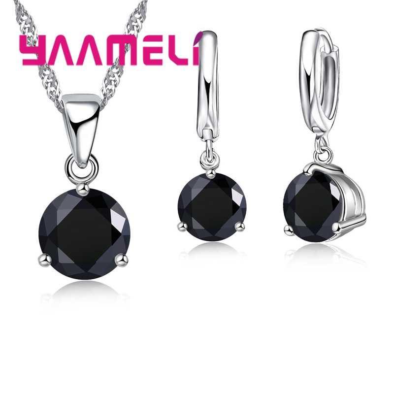 Promotions!! Canndy Farben 925 Sterling Silber Hochzeit Elegante Schmuck Sets CZ Kristall Kristall Anhänger Halskette Ohrringe