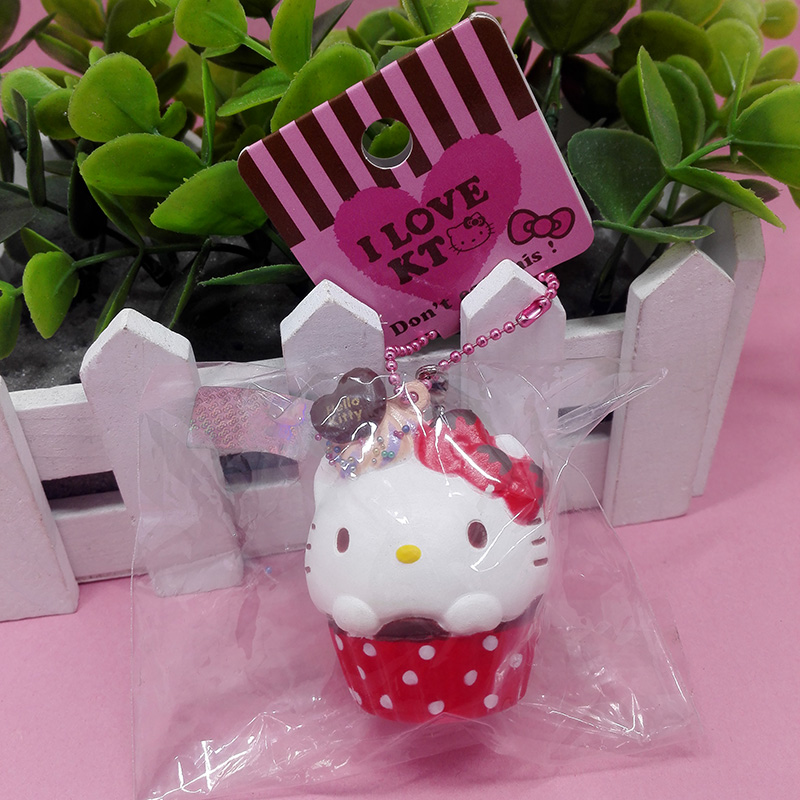 5pcs/lot original package rare hello kitty squishy Dot Cupcake cell phone Charm Strap wholesale ...