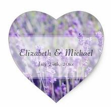 1.5inch Lavender Flowers Wedding Favor Label Heart Sticker