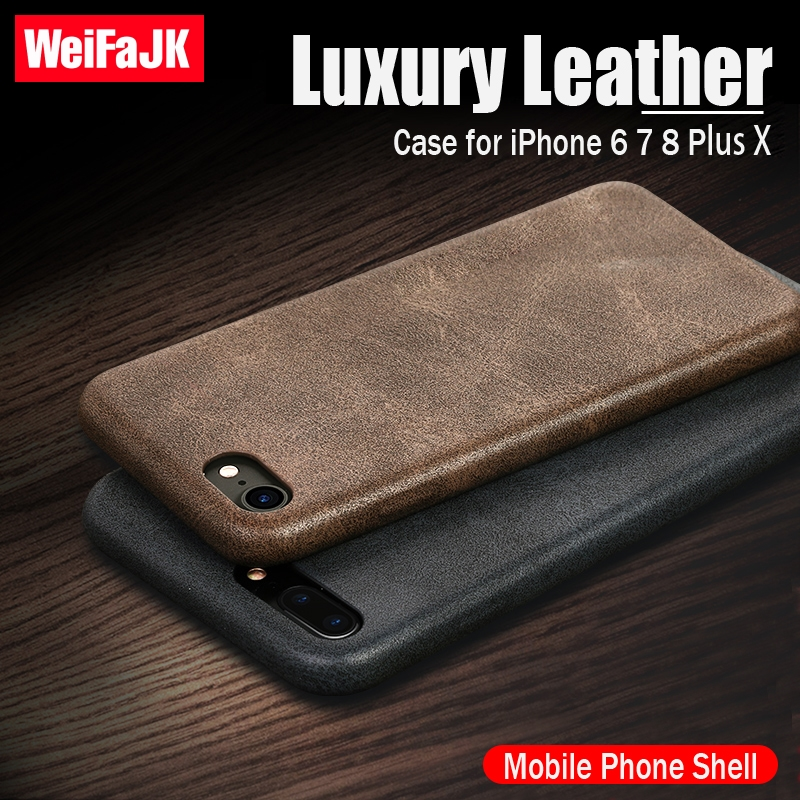 WeiFaJK Luxury Phone Case for iPhone 6 7 8 Plus Leather Microfiber Cloth Lining Cushion Back Cover Case for iPhone X 8 7 6s Case