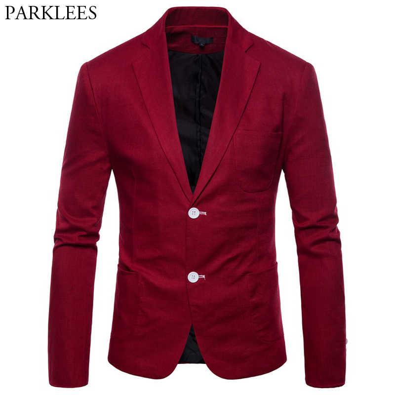 Chaqueta de traje de lino de algodón rojo vino para hombre ajustada de un solo Breasted Blazers ligeros para hombre Casual fiesta de boda Blazer Masculino
