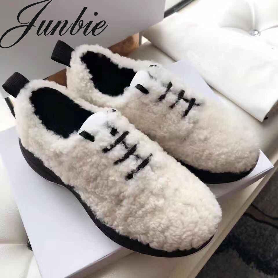 JUNBIE/качественные женские туфли гладиаторы из натуральной кожи на овечьем меху на плоской подошве со шнуровкой, женские удобные теплые туфл