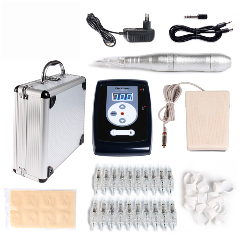 Permanent Makeup Machine Tattoo kits Tattoo Eyebrow Pen Tattoo Power Supply Pedal Practice Skin 20Pcs Needles Ink Ring Cup Case professional permanent makeup tattoo eyebrow pen machine 50 needles tips power supply set us plug drop shipping wholesale
