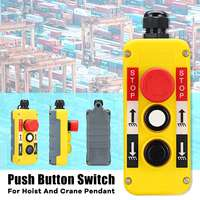 1PC 2 Buttons with Emergency Stop Hoist And Crane Pendant Control Station Hand Remote Rainproof Push Button Switch