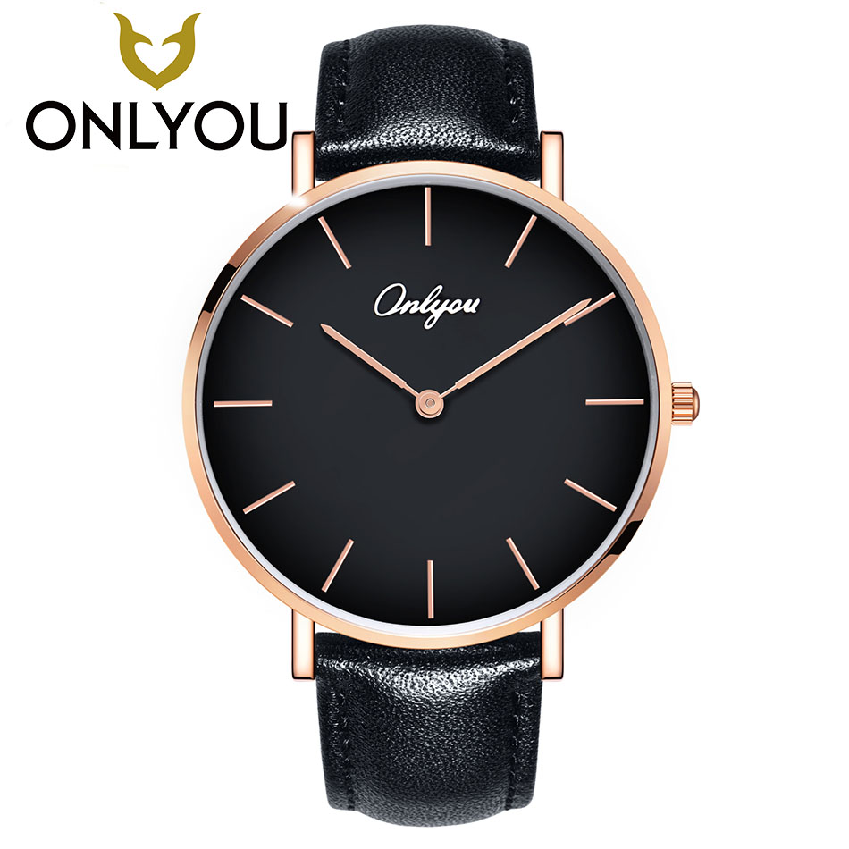 ONLYOU Men Luxury Quartz Watch Fashion Business Lovers Watches Woman Top Brand Male WristWatch Fashion Waterproof Leather Clock onlyou women top brand fashion watch super slim quartz waterproof wristwatch females casual fabric gift watces wholesale