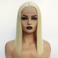 Blunt Straight Platinum Blonde Glueless Synthetic Lace Front Wig Natural Hairline 613 Bleach Blonde Daily Wig for White Women
