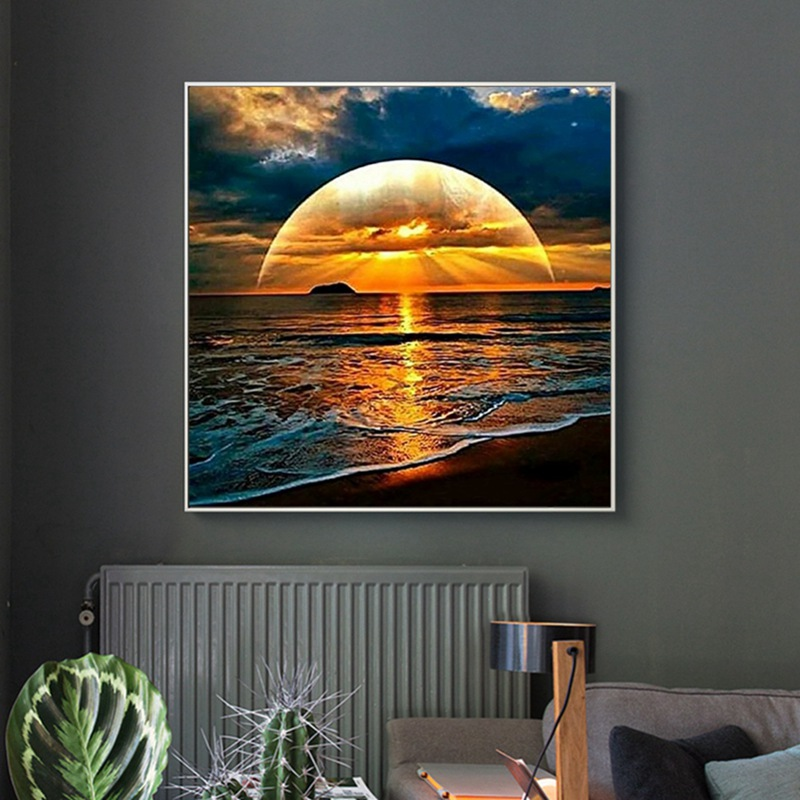 DIY Creative Sunrise Landscape Diamond Painting Digital Suite Full Drill Cover Home Wall Hanging Decoration Hot