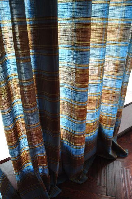 custom made pure katoen linnen gordijnen blauw koffie plaid doek gordijn voor woonkamer slaapkamer cortinas vintage