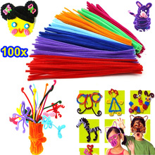 100pcs Rainbow Colors Stems Plush Flexible Sticks Kindergarten Education Toys DIY Handmade Craft Creativity Devoloping Toys