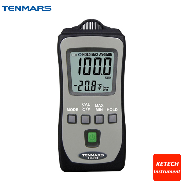 TENMARS Pocket Size Temperature Humidity Meter TM730 digital indoor air quality carbon dioxide meter temperature rh humidity twa stel display 99 points made in taiwan co2 monitor