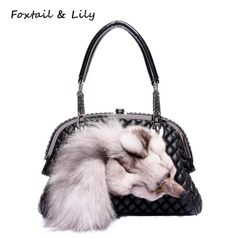 Foxtail & Lily Genuine Fox Fur Bag for Women Quilted Chain Bag Real Leather Sheepskin Shoulder Crossbody Handbags Brand Designer mini gray shaggy deer pvc quilted chain bag with cover real picture