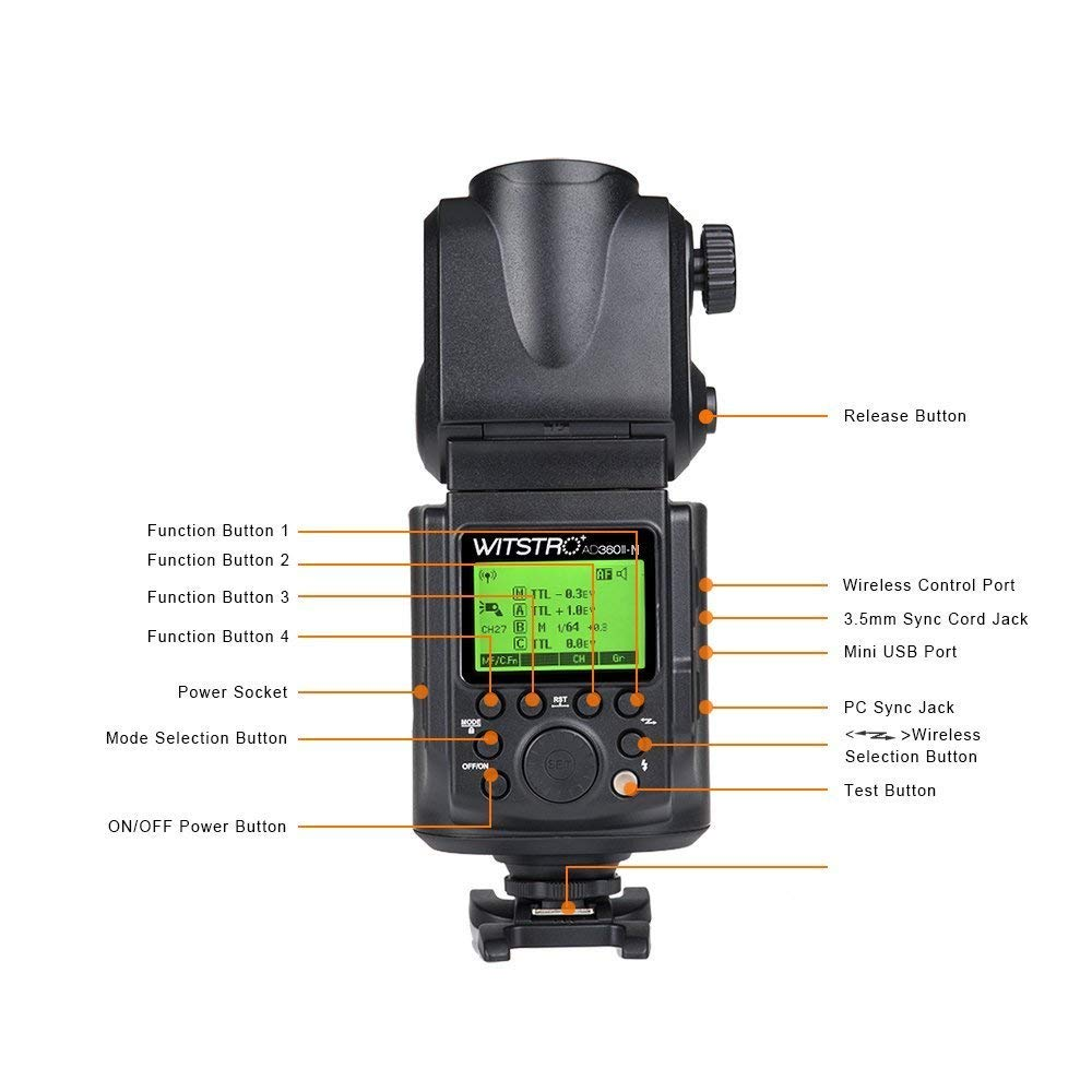 Godox Witstro AD360II-N 360W/s GN80 Portable TTL External Flash Light LCD Panel with PB960 Battery for N Camera